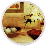 Apples And Pears In A Hallway Round Beach Towel