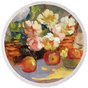 Apples And Peonies Round Beach Towel