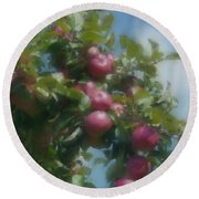 Apples And Sky Round Beach Towel