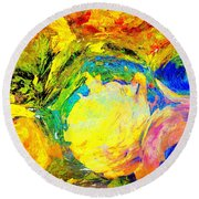 Apples And Sunshine Round Beach Towel