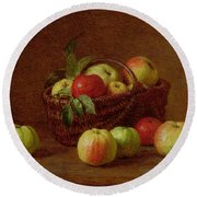 Apples In A Basket And On A Table Round Beach Towel by Ignace Henri Jean Fantin-Latour