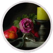 Apples Rose And Candlestick On Tray Stl712923 Round Beach Towel