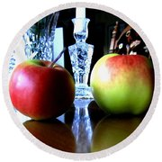 Apples Still Life Round Beach Towel