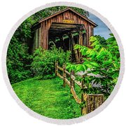 Approach To Hunseckers Mill Bridge Round Beach Towel