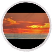 Approaching August Sunrise At Lake Simcoe 2  Round Beach Towel