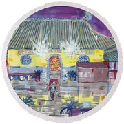 Approaching Dongwu Temple On Chinese New Years Eve Round Beach Towel