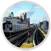 Approaching Myrtle Avenue Round Beach Towel