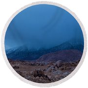 Approaching Snow Storm Round Beach Towel