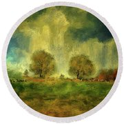 Approaching Storm At Antietam Round Beach Towel by Lois Bryan