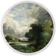 Approaching Storm Clouds Round Beach Towel by Thomas Moran