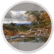 Approaching Storm In A Wooded Landscape Round Beach Towel