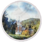 Approaching The Homestead Round Beach Towel
