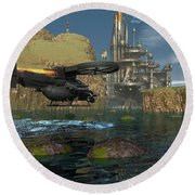 Approaching The Landing Pad Round Beach Towel