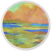 Apricot Morn Round Beach Towel