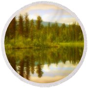 Apricot Reflections Round Beach Towel
