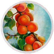 Apricots In The Garden Round Beach Towel
