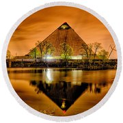 April 2015 - The Pyramid Sports Arena In Memphis Tennessee Round Beach Towel