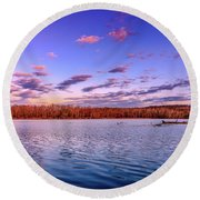 April Evening At The Lake Round Beach Towel