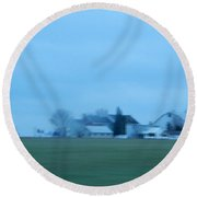 April Evening On An Amish Farm Round Beach Towel