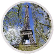 April In Paris Round Beach Towel