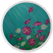April Showers Round Beach Towel