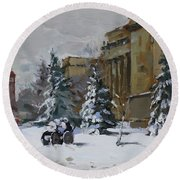 April Snow By The Nacc Round Beach Towel