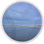 April Snows Approach Round Beach Towel