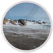 Apusiaquik Glacier Greenalnd Pano 7334-7351 Round Beach Towel