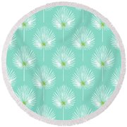 Aqua And White Palm Leaves- Art By Linda Woods Round Beach Towel