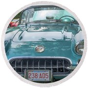 Aqua Blue 1959 Corvette  Round Beach Towel