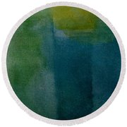 Aqua Blue - Abstract Round Beach Towel