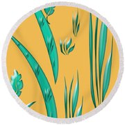 Aqua Design On Gold Round Beach Towel