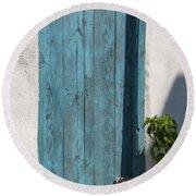 Aqua Door Textures Round Beach Towel