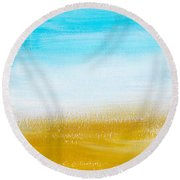 Aqua Gold Abstract Painting Round Beach Towel