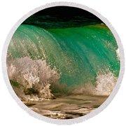 Aqua Green Wave Round Beach Towel
