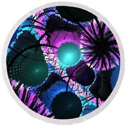Aqua Lilac Blooms Round Beach Towel