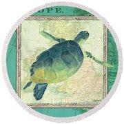 Aqua Maritime Sea Turtle Round Beach Towel