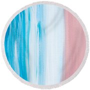 Aqua Pink Abstract Painting Round Beach Towel