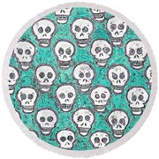 Aqua Skull Pattern Round Beach Towel