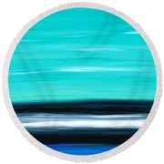 Aqua Sky - Bold Abstract Landscape Art Round Beach Towel by Sharon Cummings