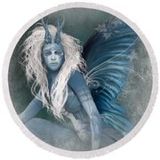 Aqua The Forest Fairy2 Round Beach Towel