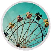 Aquamarine Dream - Ferris Wheel Art Round Beach Towel
