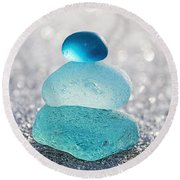 Aquamarine Ice Round Beach Towel