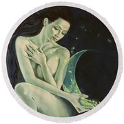 Aquarius From  Zodiac Signs Series Round Beach Towel