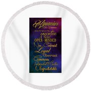 Aquarius Round Beach Towel by Mamie Thornbrue