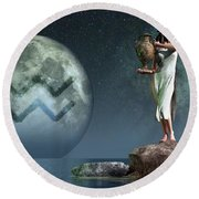 Aquarius Zodiac Symbol Round Beach Towel by Daniel Eskridge