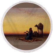 Arab At Prayer Round Beach Towel