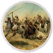 Arab Horsemen On The Attack Round Beach Towel by Adolf Schreyer