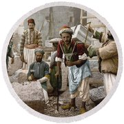 Arab Stonemasons, C1900 - To License For Professional Use Visit Granger.com Round Beach Towel