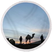 Arabian Camel At Sunset Round Beach Towel